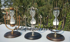 VINTAGE BRASS & WOOD BASE NAUTICAL SHIP HOURGLASS SAND TIMER LOT OF 3 PIECE