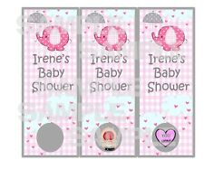 Personalized Gingham Plaid PINK Elephant Baby Shower scratch off tickets game