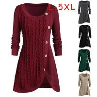 Plus Size Women O-Neck Long Sleeve Solid Botton Pachwork Asymmetric Tops Sweater