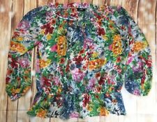 Wallis Women's Ladies Floral Multi Colored Frilly Elastic Neck Waist Top L