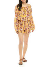 NWT Ladies Large Wonderly Yellow Floral Off Shoulder Romper Long Sleeves
