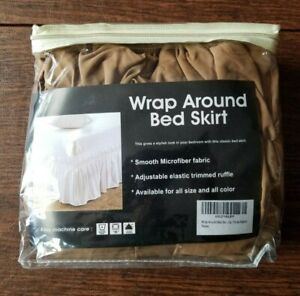 "Raj Linen Wrap Around Bed Skirt Dust Ruffle King Coffee 16"" Drop"