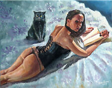 Fantasy Goth Girl Women Female Nude Corset Lingerie Cat Book Oil Art Painting