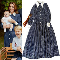 Kate Middleton Princess Diana Retro Polka Dot Drop Waist Pleat Maxi Shirt Dress
