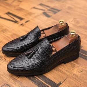 Mens Formal Slip on Loafers NightClub Leather Alligator Shoes Tassels Dress Size