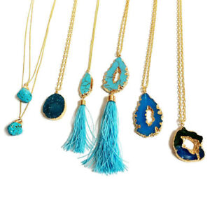 New Natural Stone Fashion Turquoise  Blue Necklace Pendant Gold Jewellery Gift
