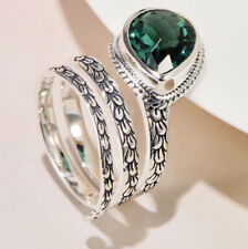 I01 Journey Ring Silver 925 Leaves Droplets From Crystal Adjustable Size