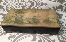 Vintage Antique Shipyard Scene Jewelry Box Heavy Handmade?  Beautiful #384