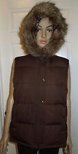 Women's Gap Brown Sleeveless Vest Jacket Coat Size Large Faux Fur Lined Hood