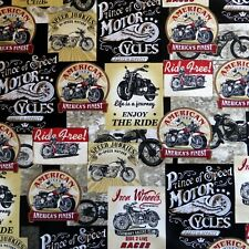 1/2 Yard ~ Vintage Signs Motorcycles 100% Cotton Fabric By Timeless Treasures