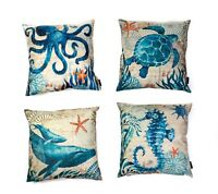 Sea Life Throw Square Cushion Cover Mediterranean Style Pillow Case Pack of 4