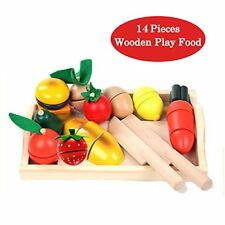 Wooden Cutting Vegetables Food Play Food Set 14 Pcs kitchen Learning Food