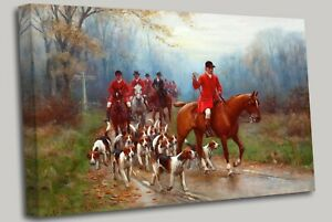 Going To The Fox Hunting Meet Horses Dogs Canvas Wall Art Picture Print