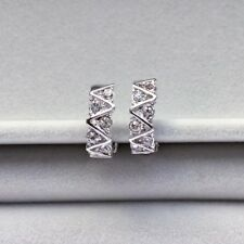 Clip on half hoops with sparking crystals white gold plated earrings