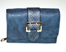 Portefeuille bleu or doré femme faux cuir porte-monnaie clutch bag sac à main G1