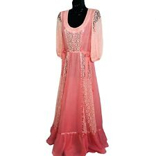 70s Pink Floral Lace Maxi Dress Gown Bohemian Gunne Sax Style Bow Front XS/S