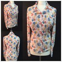 NESS Women UK 10 S Fox Print Country Woodland Blouse Pintuck Top Blogger Shirt
