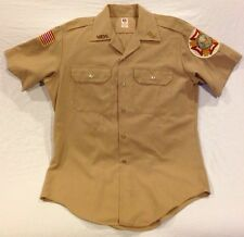 Vintage Khaki Rayon Dacron MILITARY Uniform SHIRT VFW Pins Patches Flying Cross