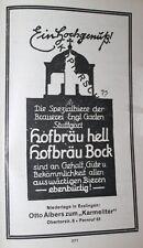 Brauerei Englischer Garten Stuttgart Hofbräu Werbeanzeige anno 1925 Reklame