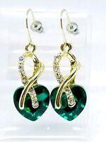 Clear Green Rhinestone Heart Dangle Gold Tone Post Earrings 1980s