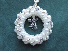 White Glass Pearl Beads Crystal Rhinestone Angel Wreath Strap Bag Charm Ornament