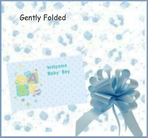 BLUE BABY BOY cellophane gift wrapping PULL BOW hamper new baby shower basket
