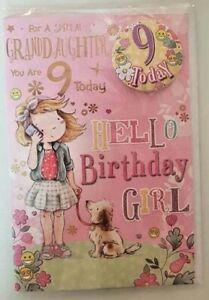 GRANDDAUGHTER 9TH BIRTHDAY LOVELY GLITTERY CARD GIRL WALKING HER DOGGIE