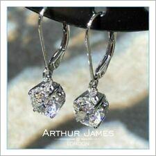 Earring Round Gemstone Diamond Solitaire Drop Dangler White Gold Finish Jewellry