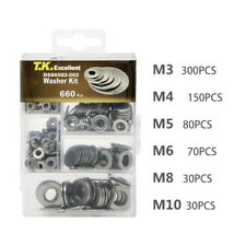 304 Stainless Steel Washers Flat Washer Assortment Set Value Kit,660 Pieces