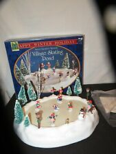 Christmas Village Skating Pond Happy Winter Holiday Battery Operated WORKS (D131
