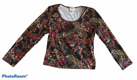 Woman's TALBOTS Floral Print Blouse Top Shirt Long Sleeve Petite Size Medium PM