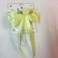 Anita Girls Formal Easter Large Yellow Barrette Rosebud Streamers Hairbow  3494