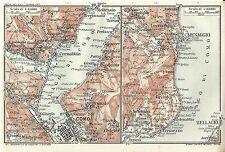 Carta geografica antica LAGO DI COMO TREMEZZO MENAGGIO 1914 Old antique map