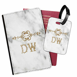 Personalised Marble PU Leather Passport Holder Travel Wallet & Luggage Tag - 71