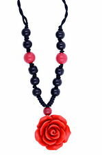 Handcrafted Beaded Red Lacquer Rose Pendant Necklace