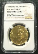 Philippines 1970 Gold 1 Peso  NGC PF67UC Pope Paul Visit
