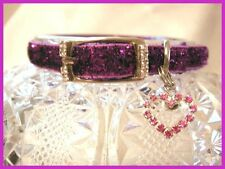 Sparkly Rhinestone Pet Collar With Buckle and Heart Charm FREESHIP BRAND NEW