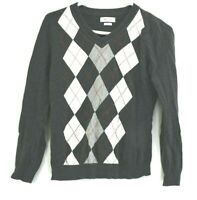 Van Heusen Women's XS Long Sleeve V-Neck Argyle Knit Sweater Charcoal White