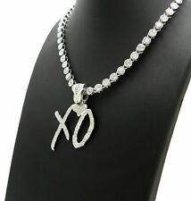 "Hip Hop XO Pendant & Iced 18"" 1 Row Big CZ Choker Chain Bling Fashion Necklace"