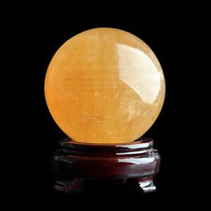 40mm Yellow Natural Citrine Quartz Crystal Sphere Ball Healing Gemstone Decor