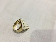 House of Harlow 1960 New & Gen.14 KT Gold Plated White Enamel Ring Size 9 & Logo