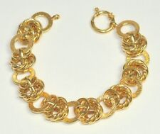 """7.5"""" Technibond Twisted Textured Rolo Bracelet 14K Yellow Gold Clad Silver 925"""