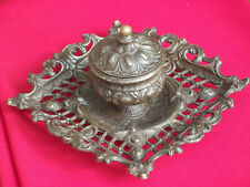 More details for ornate giant metal inkwell / desk tidy
