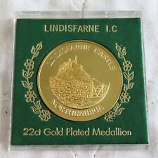 LINDISFARNE CASTLE 38mm 22ct GOLD PLATED PROOF MEDAL - cased