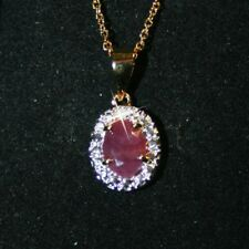 Natural Oval Ruby Gemstone Diamond Pendant Necklace 14k Yellow Gold over Base