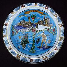 Vintage Rhodes Rodos Cuerda Seca Souvenir Plate Elafos Keramik Hand Made