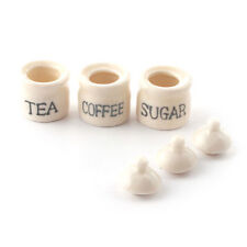 Set Pot, té, café y azúcar, Casa De Muñecas Miniaturas Accesorio De Cocina