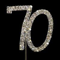 70th 70 DIAMANTE RHINESTONE CRYSTAL NUMBER PICKS Birthdays or Anniversaries