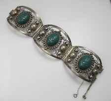 WIDE VINTAGE CARVED GREEN ONYX STERLING SILVER MEXICO FACE BRACELET