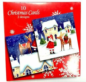 Box Of 10 Quality Santa and Reindeer Christmas Cards By UK Greetings